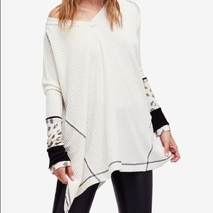 Free People Lovin Leopard Oversized Thermal Top